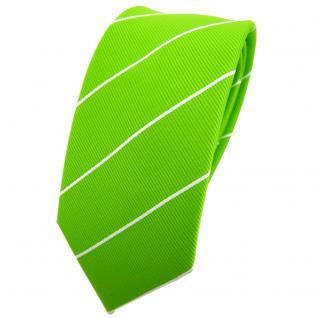 Schmale TigerTie Krawatte grün leuchtgrün neongrün silber gestreift - Binder Tie
