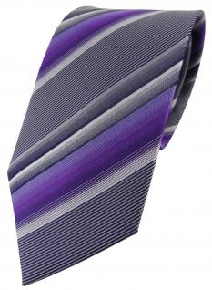TigerTie Designer Seidenkrawatte violett lila magenta gestreift - Krawatte Seide