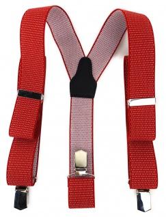 TigerTie Unisex Hosenträger mit 3 extra starken Clips - rot weiß gepunktet