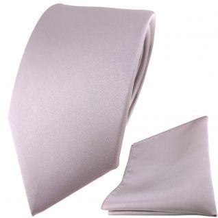 Modische TigerTie Satin Seidenkrawatte +Seideneinstecktuch silber grau einfarbig
