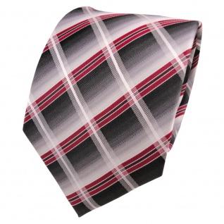 TigerTie Seidenkrawatte rot grau anthrazit silber kariert - Krawatte Seide Silk