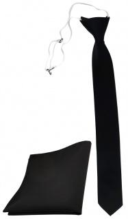 TigerTie Sicherheits Krawatte + Einstecktuch in schwarz einfarbig Uni Rips