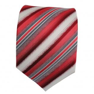Designer Seidenkrawatte rot weiss grau gestreift - Krawatte Seide Tie Binder - Vorschau 2