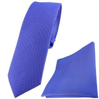 schmale TigerTie Seidenkrawatte + Einstecktuch in blau silber gepunktet