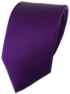 TigerTie Seidenkrawatte in lila dunkellila violett Uni - Krawatte Seide Silk Tie