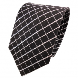 TigerTie Lurex Seidenkrawatte schwarz silber kariert - Designer Krawatte Seide