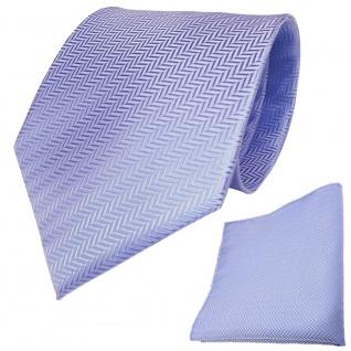 Set TigerTie Designer Krawatte + Einstecktuch in hellblau silber gestreift