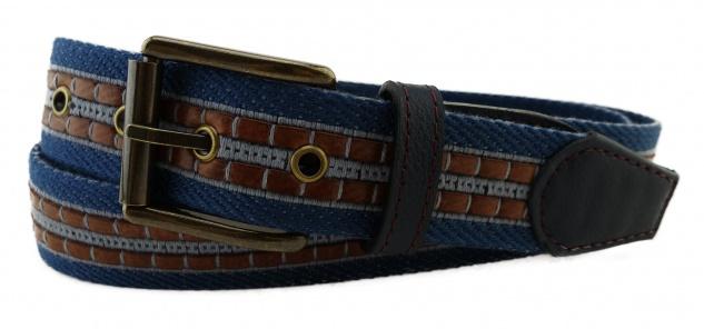 TigerTie - Stoffgürtel in blau hellblau graublau gemustert - Bundweite 100 cm