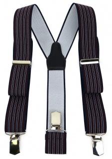 TigerTie Unisex Hosenträger mit 3 extra starken Clips - bordeaux blau gestreift