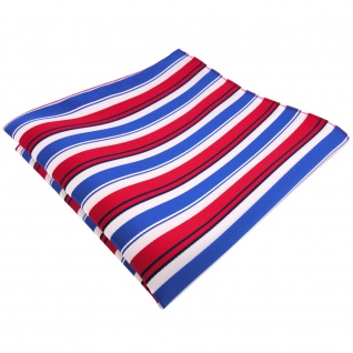 TigerTie Einstecktuch in rot blau weiß schwarz gestreift - Tuch 100% Polyester