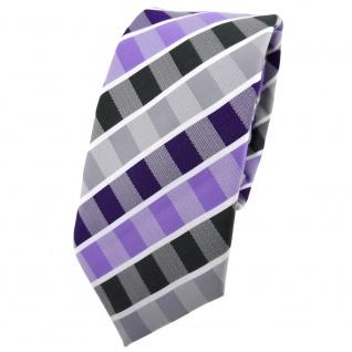 Schmale TigerTie Krawatte lila flieder grau anthrazit weiß gestreift - Binder