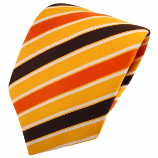 TigerTie Satin Krawatte orange hellorange braun weiß gestreift - Binder Tie