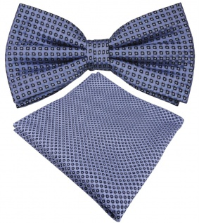 Designer Seidenfliege + Seideneinstecktuch in blau brillantblau royal gepunktet