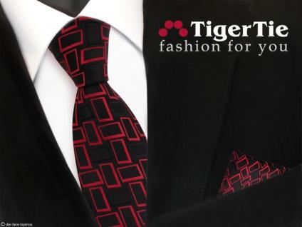 TigerTie Krawatte + Einstecktuch in rot signalrot schwarz gemustert - Vorschau 1