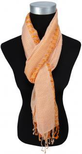 Schal in orange grau kariert mit kleinen Fransen - Gr. 180 x 50 cm