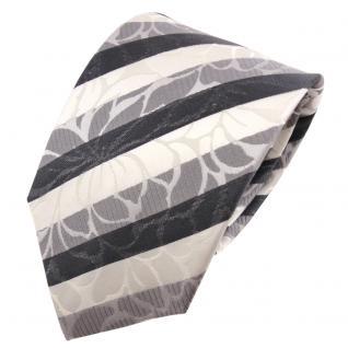 TigerTie Seidenkrawatte silber grau anthrazit weiß gestreift - Krawatte Seide