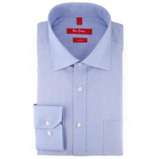 Ben Green Herrenhemd hellblau Uni langarm bügelfrei - New-Kent-Kragen Hemd Gr.45