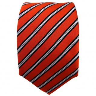Enrico Sarto Seidenkrawatte orange schwarz silber gestreift - Krawatte Seide Tie - Vorschau 2