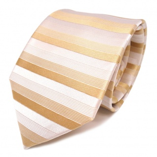 schöne feine Designer Krawatte in gold grau gestreift 100% Seide