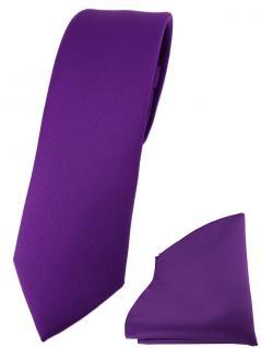 schmale TigerTie Designer Krawatte + Einstecktuch in lila einfarbig uni