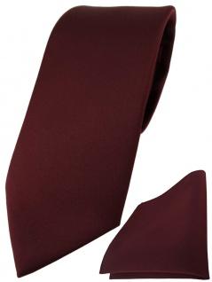 TigerTie Designer Krawatte + TigerTie Einstecktuch in weinrot einfarbig uni