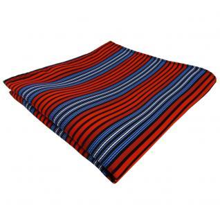 TigerTie Einstecktuch orange blau schwarz silber gestreift - Tuch Polyester