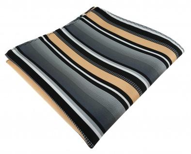 TigerTie Designer Einstecktuch in lachs silber grau weiss schwarz gestreift