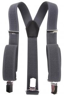 breiter Hosenträger in grau anthrazit Uni mit Clip - verstellbar 75 bis 120 cm - Vorschau