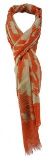 TigerTie Schal in orange beige gemustert mit kleinen Fransen - Größe 180 x 50 cm