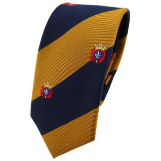 Schmale TigerTie Krawatte gold goldbraun dunkelblau gestreift Wappen - Binder