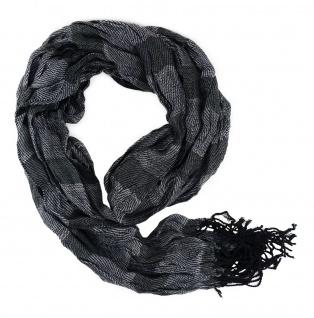 gecrashter Schal in grau anthrazit silber schwarz gestreift - Größe 190 x 50 cm