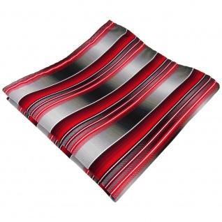 TigerTie Einstecktuch rot verkehrsrot anthrazit silber grau gestreift - Tuch