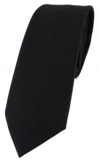 schmale TigerTie Krawatte in schwarz Uni - 100% Baumwolle - Krawattenbreite 6 cm
