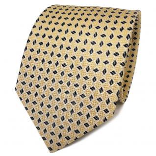 TigerTie Designer Seidenkrawatte gold hellgold schwarz gemustert- Krawatte Seide