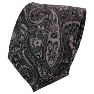 TigerTie Seidenkrawatte anthrazit grau silber schwarz Paisley - Krawatte Seide