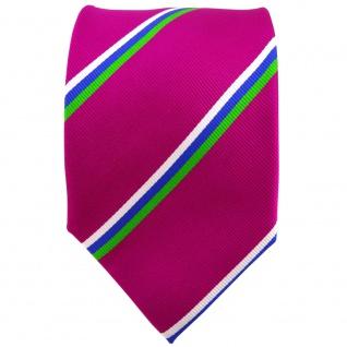TigerTie Seidenkrawatte magenta grün blau weiß gestreift - Krawatte 100% Seide - Vorschau 2
