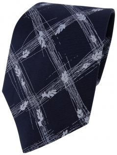 feine leichte Seidenkrawatte dunkelblau blau gekreuzt - Krawatte 100% Seide