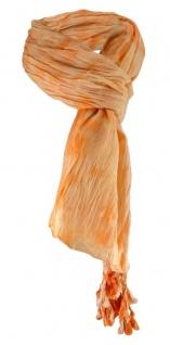 Raffschal in orange lachs Batik gemustert mit Tusseln an den Ecken - 180 x 50 cm