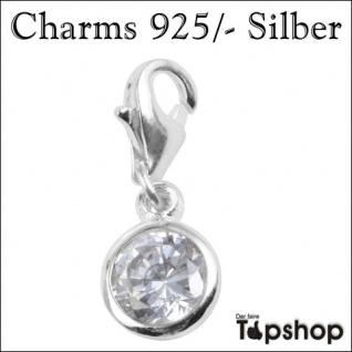 Charms 925/-, weißer Stein Ø 0, 6cm