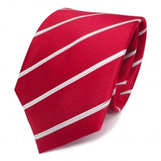 Designer Satin Seidenkrawatte rot leuchtrot silber gestreift - Krawatte Seide