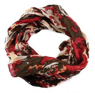 Raffschal rot dunkelbraun lachs grau gemustert - Gr. 180x50 cm - 100% Baumwolle