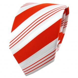 TigerTie Satin Krawatte orange tieforange weiß silber gestreift - Binder Schlips