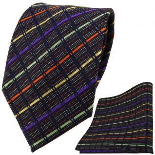 TigerTie Designer Krawatte +Einstecktuch gold lila grün orange schwarz gestreift