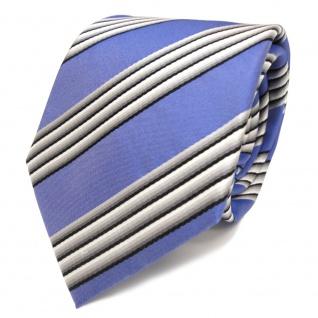 Designer Seidenkrawatte blau himmelblau grau schwarz gestreift - Krawatte Seide