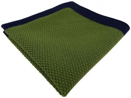 TigerTie Designer Strick Einstecktuch in grün marine Uni - 100% Baumwolle