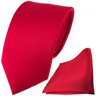 TigerTie Satin Seidenkrawatte + Seideneinstecktuch in rot einfarbig Uni