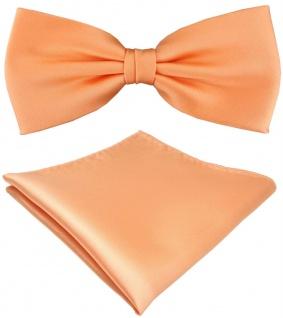 TigerTie Satin Fliege + Einstecktuch in lachs orange Uni Einfarbig + Geschenkbox