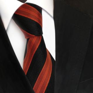 Designer Seidenkrawatte orange braun schwarz gestreift - Krawatte Seide Tie - Vorschau 3