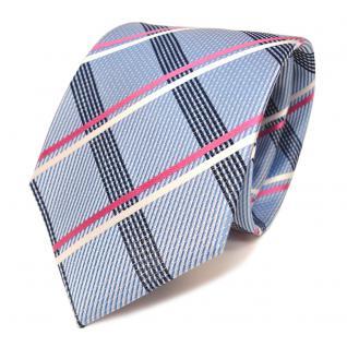 Designer Seidenkrawatte blau hellblau pink weiss silber kariert - Krawatte Seide