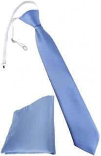 TigerTie Kinderkrawatte + Einstecktuch blau hellblau - vorgebunden mit Gummizug